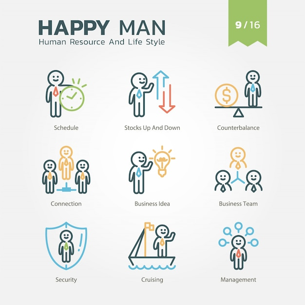 Human resource and lifestyle-verzameling vol.9 / 16 Premium Vector