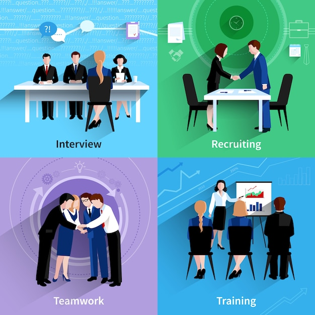 Human resources 4 plat pictogrammen vierkant Gratis Vector