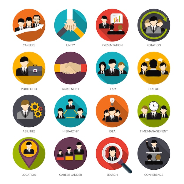 Human resources icons set Gratis Vector