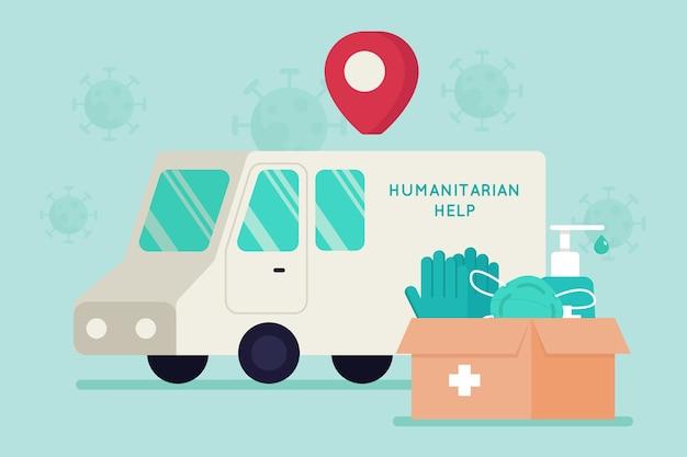 Humanitair hulpconcept met medische maskers en handschoenen Gratis Vector
