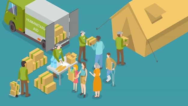 Humanitaire hulp en hulp voor mensen poster Premium Vector
