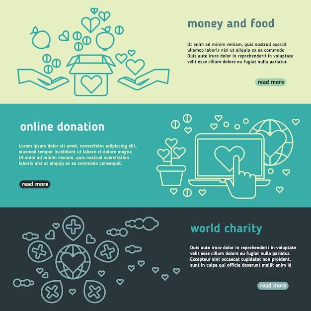 Humanitaire vector geplaatste banners Premium Vector