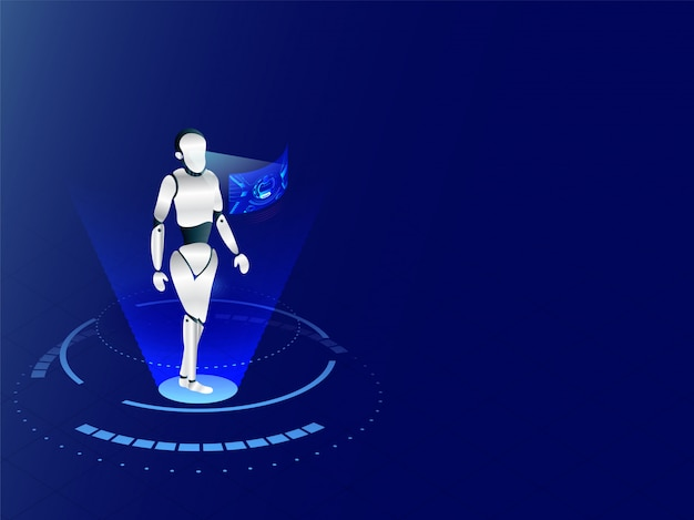 Humanoid-robot die met virtuele vertoningsinterface werken aan blauwe ba Premium Vector
