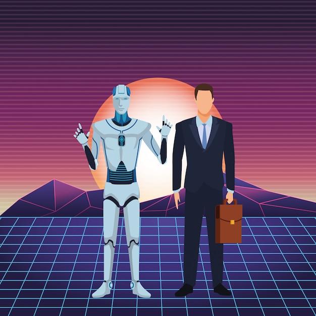 Humanoïde robot en zakenman Premium Vector