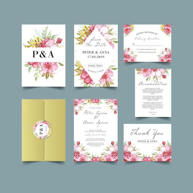 Humeurige bloemenverjaardag huwelijksuitnodigingen Premium Vector