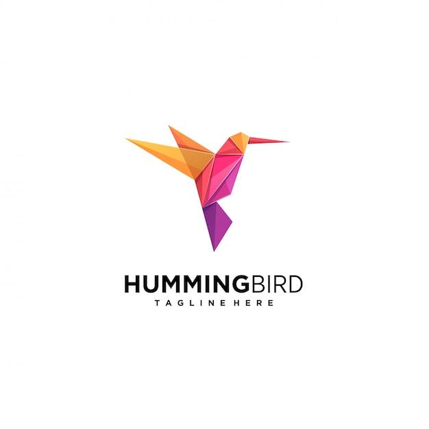 Humming bird fly origami kleurrijk logo. Premium Vector