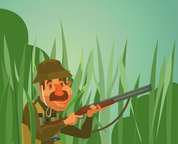 Hunter man karakter jagen eenden cartoon afbeelding Premium Vector