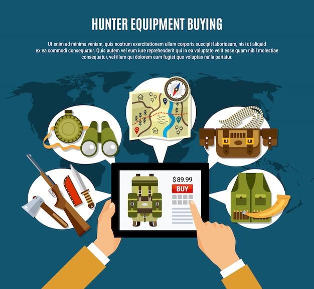 Hunter uitrusting samenstelling Gratis Vector