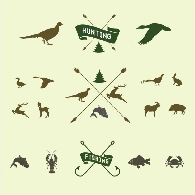 Hunting icon set Gratis Vector