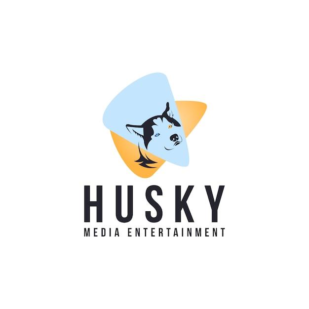 Husky media entertainment-logo Premium Vector