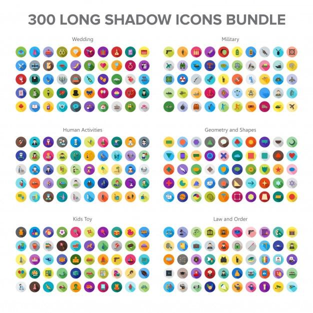 Huwelijk, militair, menselijke activiteit en babyspeelgoed 300 long shadow icons bundle Premium Vector