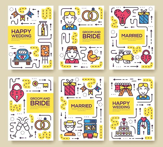 Huwelijk teken sjabloon van flyer Premium Vector
