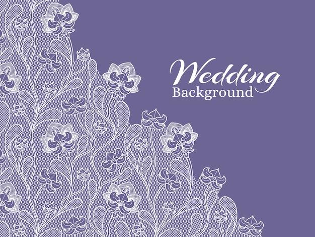 Huwelijks bloemen vectorachtergrond met kantpatroon Premium Vector
