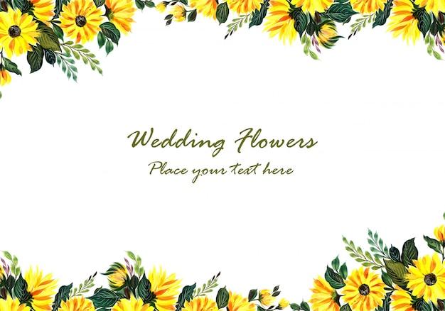 Huwelijks decoratief geel bloemenframe Gratis Vector