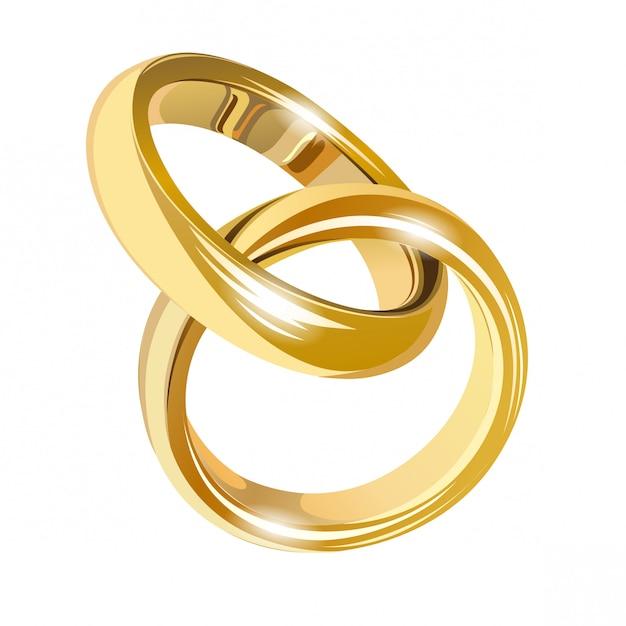 Huwelijks gouden ringen die op wit worden geïsoleerd Premium Vector