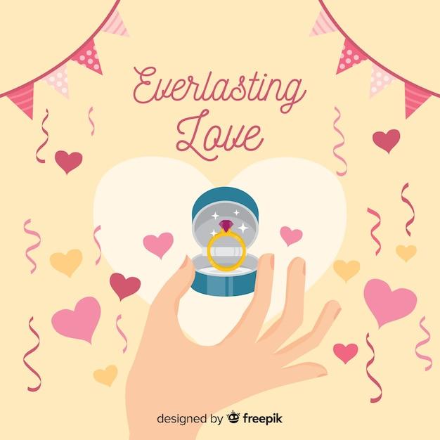 Huwelijksaanzoek en liefde concept Gratis Vector