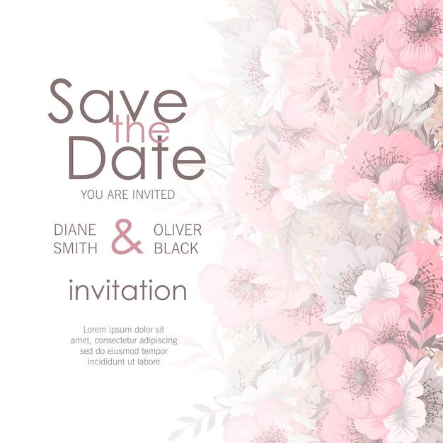 Huwelijkskaart met bloem Gratis Vector