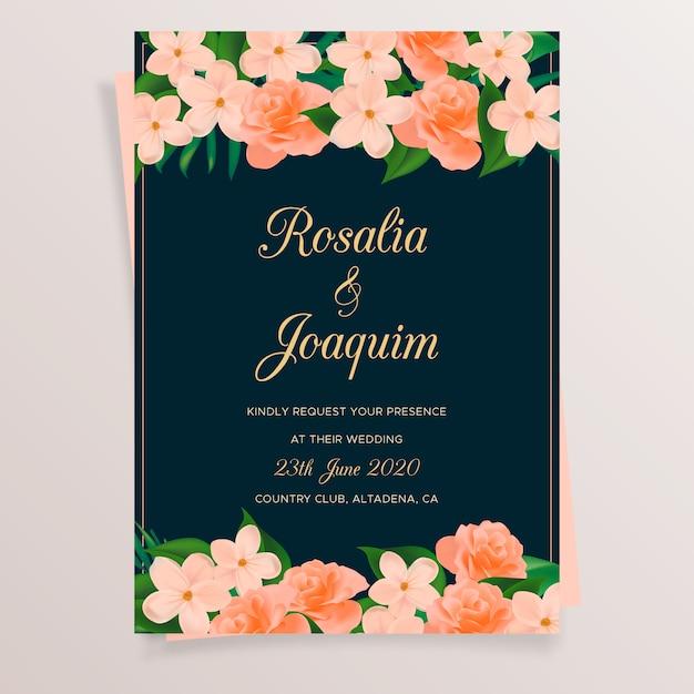 Huwelijkskaart met bloemen Gratis Vector