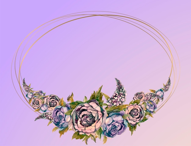 Huwelijkskader met waterverfslingers van pioenen van rozen en seringen. Premium Vector