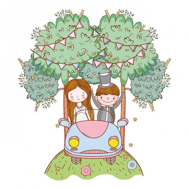 Huwelijkspaar op auto leuke cartoon Premium Vector