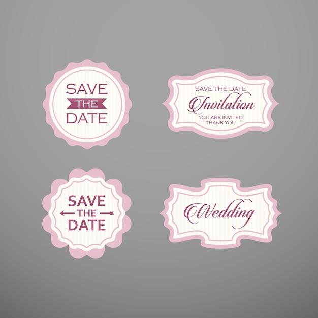 Huwelijksreeks van etiket, kentekens, ontwerp. Premium Vector