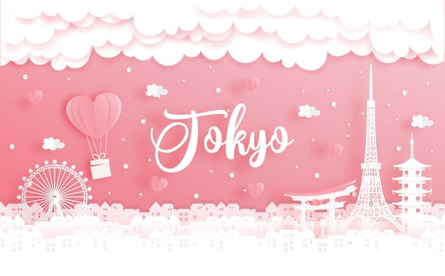 Huwelijksreis en valentijnsdagconcept met reizen naar tokio, japan Premium Vector