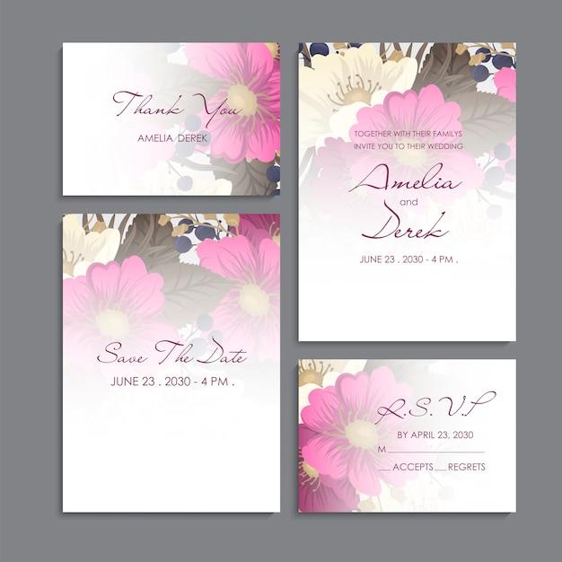 Huwelijksuitnodiging, bedankkaart, bewaar de datumkaart. Gratis Vector