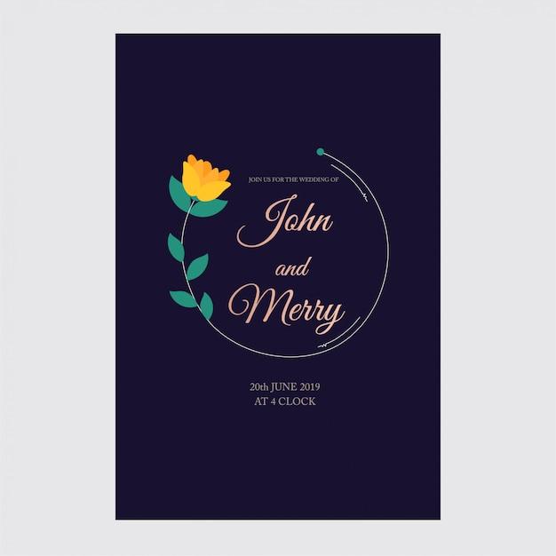 Huwelijksuitnodiging, bloemen, rsvp moderne kaart ontwerp: decoratieve krans Premium Vector