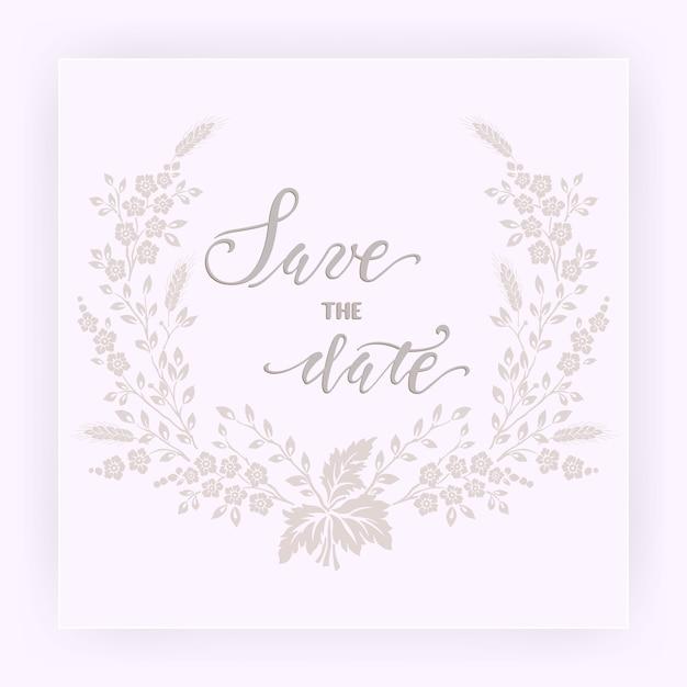 Huwelijksuitnodiging en aankondigingskaart met bloemen Gratis Vector