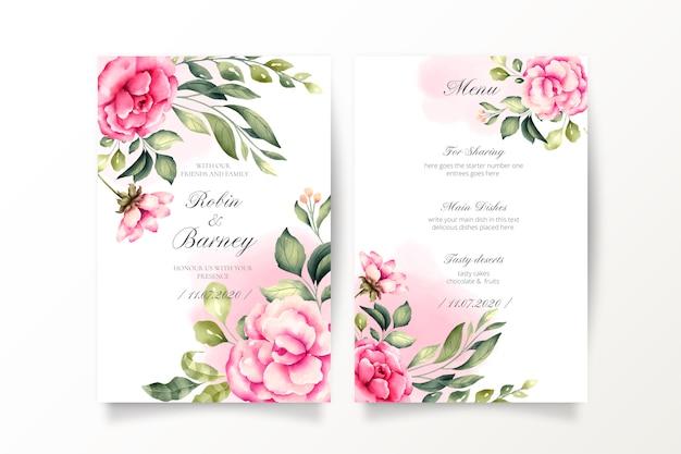 Huwelijksuitnodiging en menusjabloon met waterverfbloemen Gratis Vector