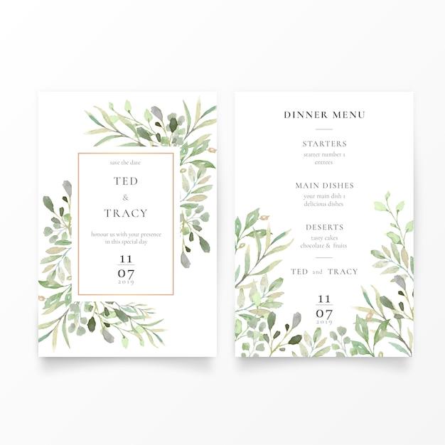 Huwelijksuitnodiging & menusjabloon met groene bladeren Gratis Vector