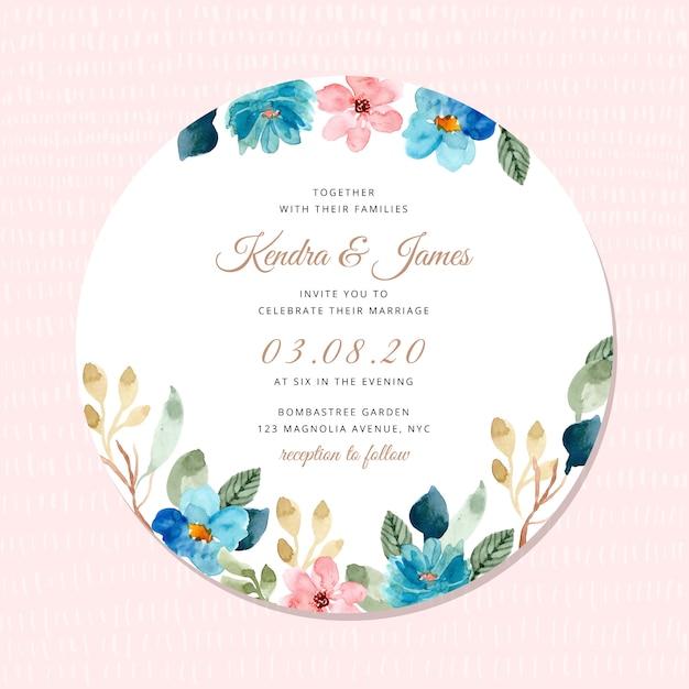 Huwelijksuitnodiging met blauwe roze bloemenkaderwaterverf Premium Vector