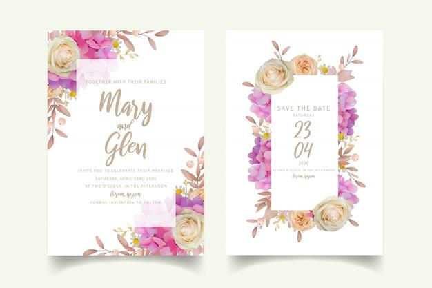 Huwelijksuitnodiging met bloemen roze hortensia en roze bloemen Premium Vector