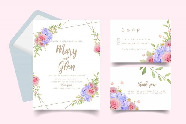 Huwelijksuitnodiging met bloemen roze rozen en hortensia Premium Vector