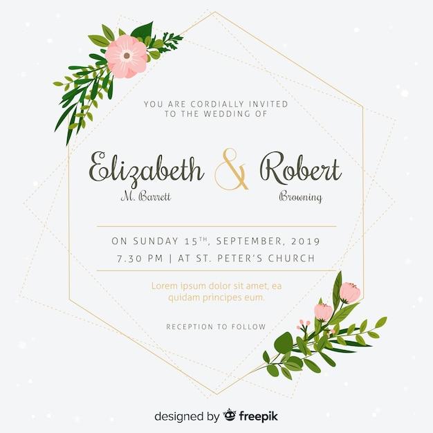 Huwelijksuitnodiging met bloemenframe in vlak ontwerp Gratis Vector