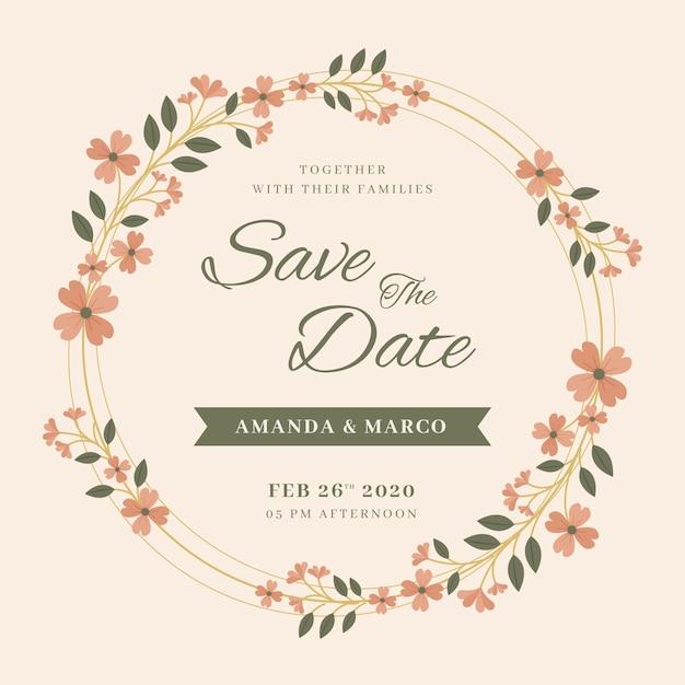 Huwelijksuitnodiging met bloemenframe Gratis Vector
