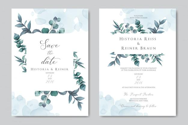 Huwelijksuitnodiging met bloemenornament Premium Vector