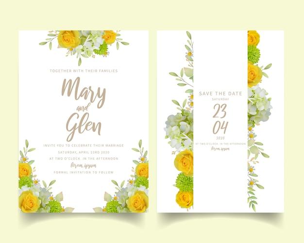 Huwelijksuitnodiging met bloemenrozen en hortensia Premium Vector