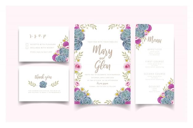 Huwelijksuitnodiging met bloemenrozen en succulent Premium Vector