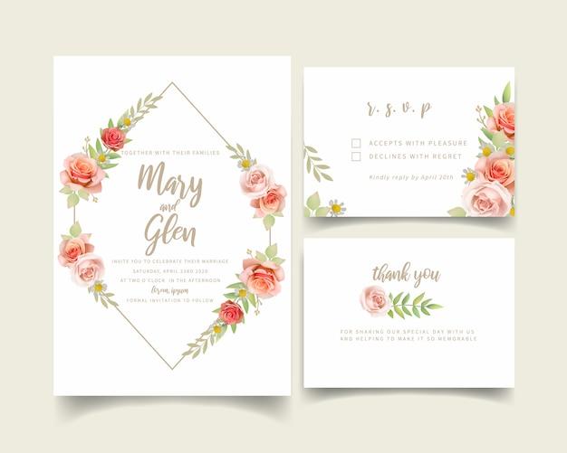 Huwelijksuitnodiging met bloemenrozen Premium Vector
