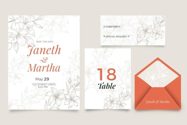 Huwelijksuitnodiging met bloemenstijl Gratis Vector