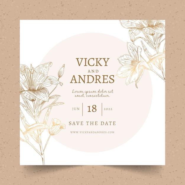 Huwelijksuitnodiging met een groot bloemsjabloon Gratis Vector