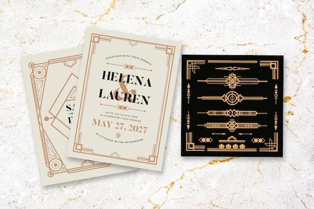 Huwelijksuitnodiging met elegant thema Gratis Vector