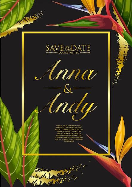 Huwelijksuitnodiging met exotische tropische bladerenachtergrond Premium Vector