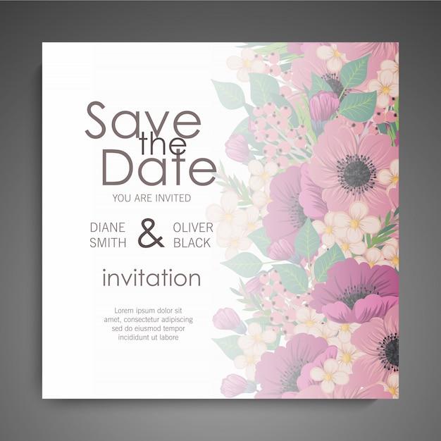Huwelijksuitnodiging met kleurrijke bloem. Gratis Vector