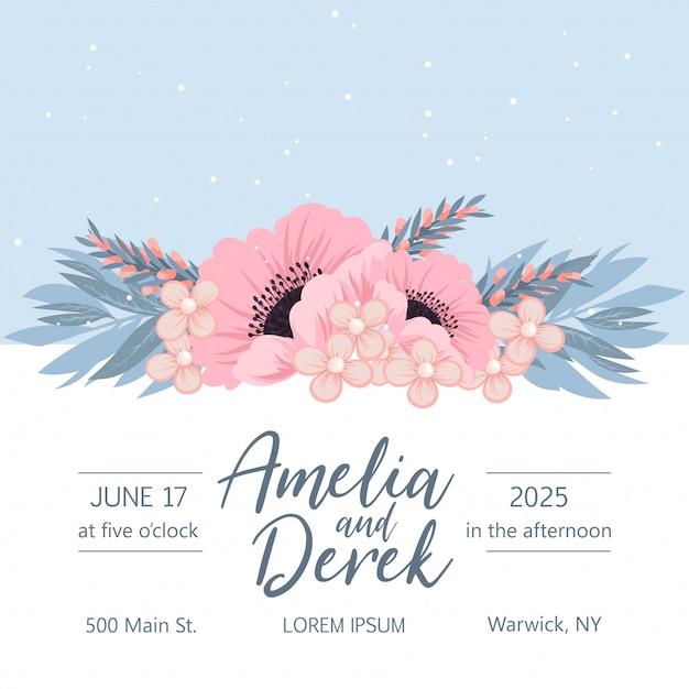 Huwelijksuitnodiging met kleurrijke bloem. Premium Vector