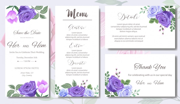 Huwelijksuitnodiging met mooie bloemen en bladeren Premium Vector