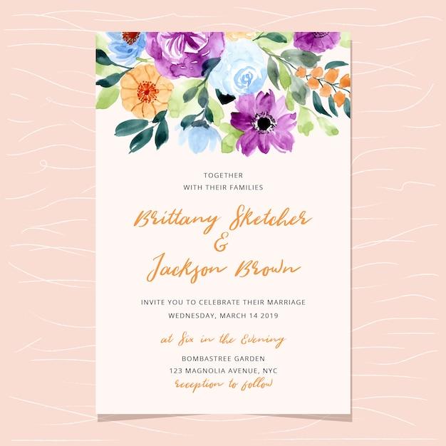 Huwelijksuitnodiging met mooie bloemwaterverf Premium Vector