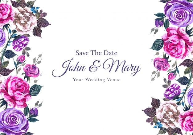 Huwelijksuitnodiging met mooie waterverfbloemen Gratis Vector