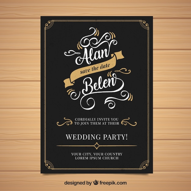Huwelijksuitnodiging met ornamenten in uitstekende stijl Gratis Vector